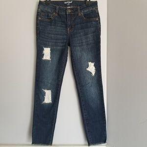 NWOT Cat & Jack skinny jeans dark denim 10 lace